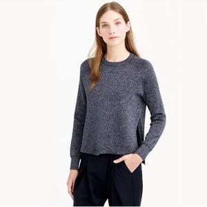 J.CREW Sparkle Side Slit Sweater Blue crewneck
